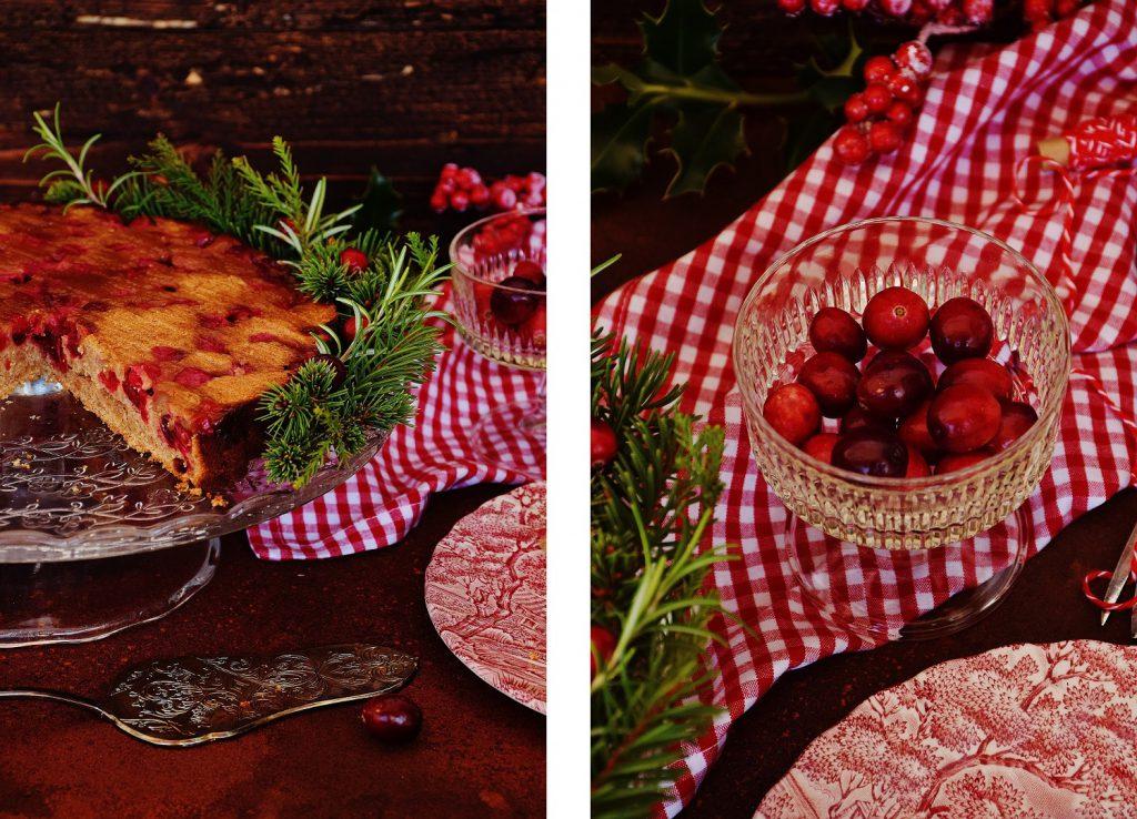 Weihnachtlicher Cranberry-Kuchen mit frischen Cranberries