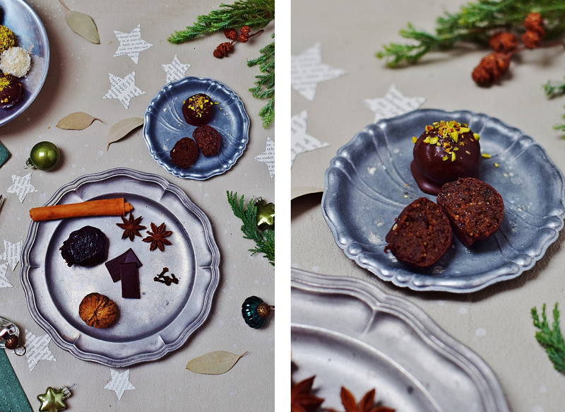 Zwetschken-Walnuss-Weihnachtspralinen - vegan und zuckerfrei