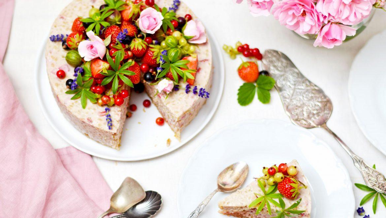 Milchreistorte mit Erdbeeren - gesund