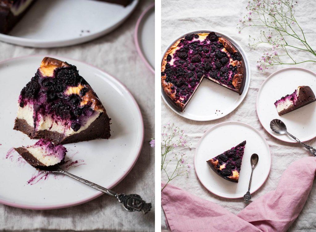 Brownie-Cheesecake mit Beeren, zuckerfrei, glutenfrei