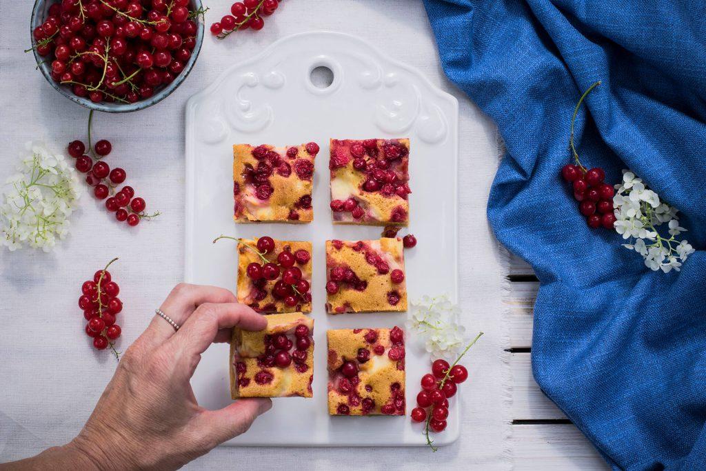 Rezept für einen Ribiselkuchen mit Pudding - zuckerfrei
